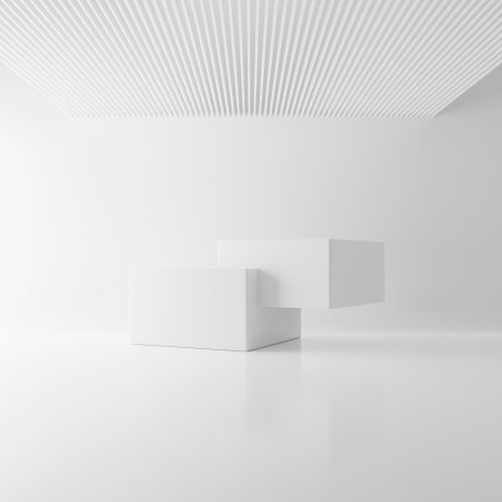 white-two-rectangle-block-cube-in-ceiling-room-background-abstract-modern-architecture-mockup-concept-minimal-interior-studio-podium-platform-business-presentation-stage-3d-illustration-render